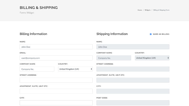 Billing & Shipping Form